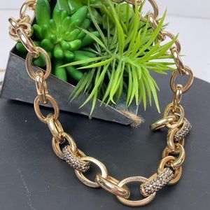 Express Gold Chain thick with Smokey Pave stones